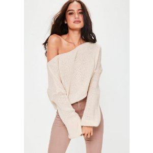 Missguided - Cream Off Shoulder Balloon Sleeve Cropped Sweater