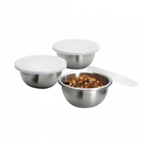 Anchor Hocking Set of 3 Small Stainless Steel Bowls w/ Lid - Weekly Deals - Sale
