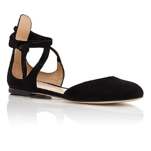 Gianvito Rossi Pina Ankle-Tie D'Orsay Flats