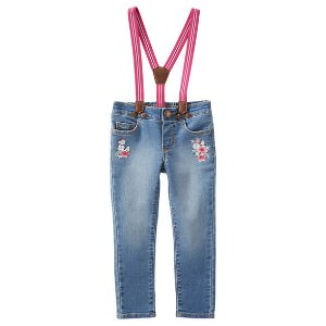Suspender Embroidered Jeans