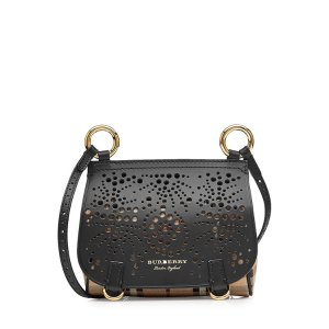 Mini Shoulder Bag with Leather - Burberry | WOMEN | US STYLEBOP.COM