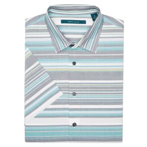 Big and Tall Short Sleeve Stripe Shirt - Perry Ellis