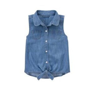 Girls Chambray Tie-Front Top by Gymboree