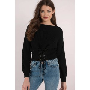 Cross Over Lace Up Sweater