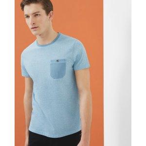Mouliné cotton crew neck T-shirt