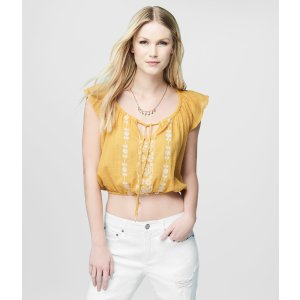 Cape Juby Embroidered Ruffle Cropped Peasant Top - Aeropostale