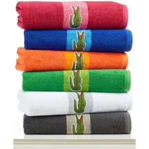 CLOSEOUT! Lacoste Signature Logo Bath Towel, 100% Terry Cotton