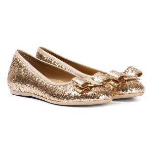 Ferragamo Gold Glitter Varina Pumps | AlexandAlexa