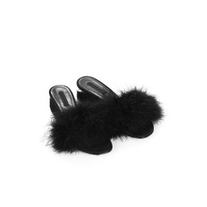LOU MARABOU SUEDE SANDAL WITH RHODIUM | FLATS