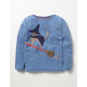 Witch Cat T-shirt (Washed Bluebell Blue Cat)