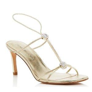 Stuart Weitzman Teehee Metallic Leather and Swarovksi Crystal T Strap Sandals