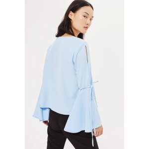 Trumpet Sleeve Blouse - Tops - Clothing - Topshop USA