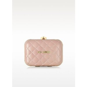 Love Moschino Pink Small Quilted Clutch at FORZIERI