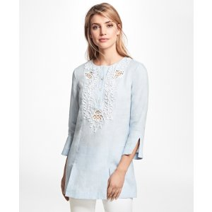 Cord-Embroidered Linen Tunic - Brooks Brothers