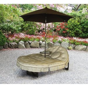 Mainstays Deluxe Orbit Chaise Lounge with Umbrella & Side Table, Seats 2  by Mainstays