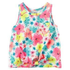 Kid Girl Front-Tie Neon Floral Tank | Carters.com