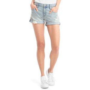 Mid rise destructed denim shorts | Gap