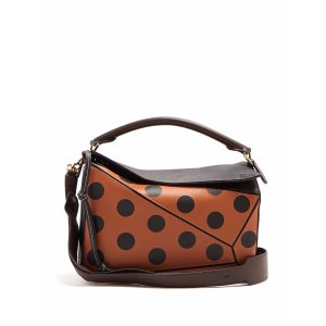 Puzzle polka-dot leather bag