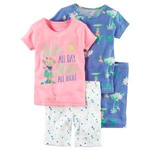 Baby Girl 4-Piece Snug Fit Neon PJs | Carters.com