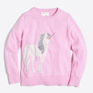 Girls' embellished unicorn intarsia popover sweater : Popovers | J.Crew Factory