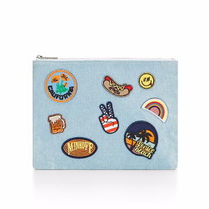 Denim Pouch With Patches