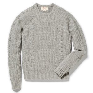 WOOL BLEND CABLE RAGLAN CREW NECK SWEATER