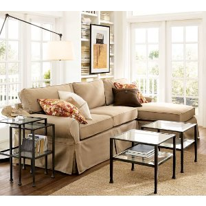 Sale PB Basic Slipcovered Sofa with Chaise Sectional | Pottery Barn