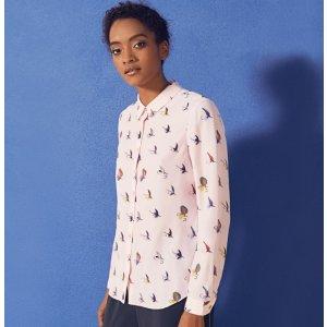 ZAHLEE Fly fish print silk shirt