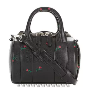 ROSE EMBOSSED MINI ROCKIE IN SOFT PEBBLED BLACK WITH RHODIUM - BLACK by Alexander Wang