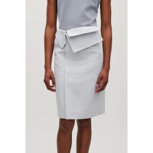 Skirt with folded wrap waist - Steel Blue - Sale - COS US