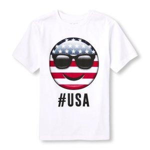 Boys Americana Short Sleeve 'Hashtag USA' Emoji Graphic Tee | The Children's Place