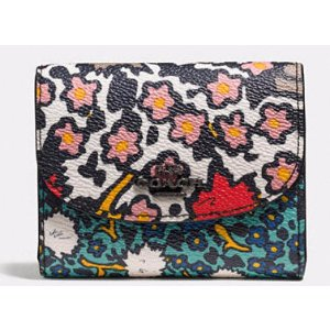 COACH: Double Flap Small Wallet In Mixed Yankee Floral Print Canvas