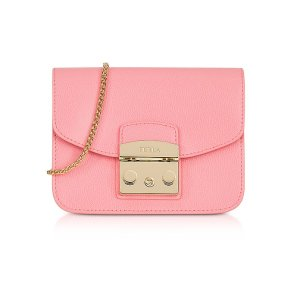 Furla Rose Quartz Leather Metropolis Mini Crossbody Bag