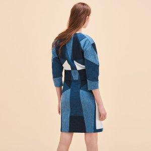 ROSEN Patchwork denim dress - Dresses - Maje.com