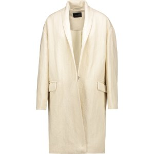 Manteau ribbed linen and wool-blend twill coat