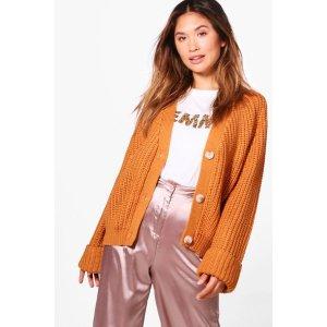 Jasmine Crop Oversized Chunky Knit Cardigan | Boohoo
