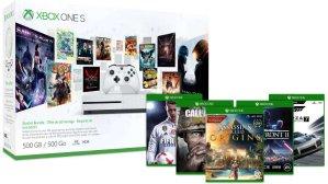 Save $50 + 2 Free GamesXbox One S 500GB Console Minecraft Limited Edition Bundle