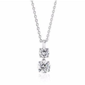 Two-Stone Diamond Drop Pendant in 14k White Gold (1 ct. tw.) | Blue Nile