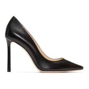 Black Leather Romy Heels