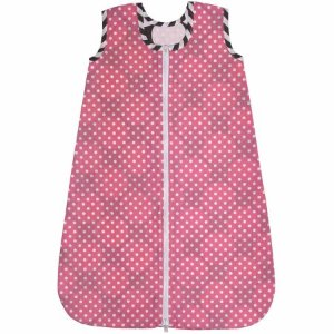 Bacati - Dots/Pin Stripes 100% Cotton Percale Sleep Sack 2, Gray/Pink - Walmart.com