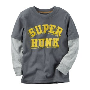 Kid Boy Long-Sleeve Layered-Look Super Hunk Graphic Tee | Carters.com