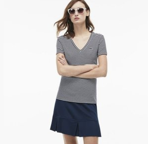 $44.99($65)Lacoste Women's Soft Striped Jersey V-Neck T-Shirt
