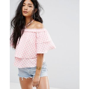 Missguided Off The Shoulder Gingham Ruffle Top