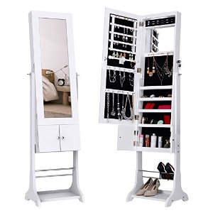 LANGRIA LED Lockable Jewelry Cabinet White