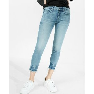Mid Rise Cropped Stretch Jean Leggings | Express