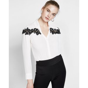 Slim Fit Lace Inset No Pocket Portofino Shirt