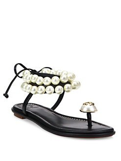 Earn $35 Gift Card Tory Burch Melody Beaded Leather Ankle Tie Sandals Purchase @ Saks Fifth Avenue