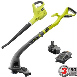 Ryobi 18-Volt Lithium-Ion Cordless String Trimmer/Edger and Blower/Sweeper Combo Kit