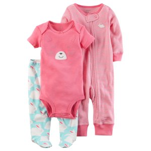 3-Piece Babysoft Footed Pant Set