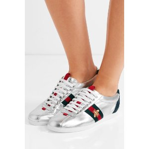 Gucci | Suede-trimmed metallic leather sneakers | NET-A-PORTER.COM